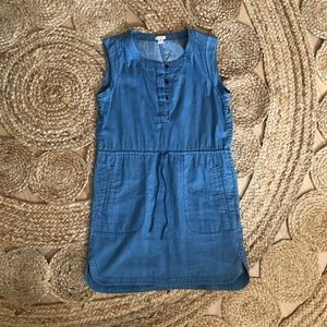 Jcrew chambray drawstring shift dress